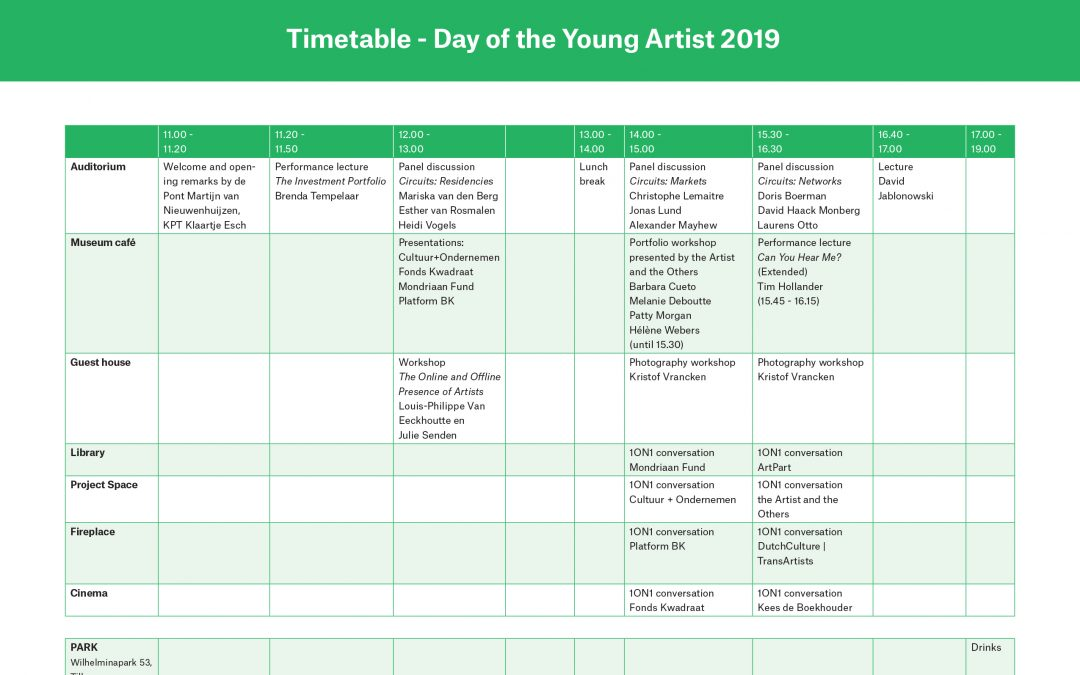 Day of the Young Artist: blokkenschema bekend