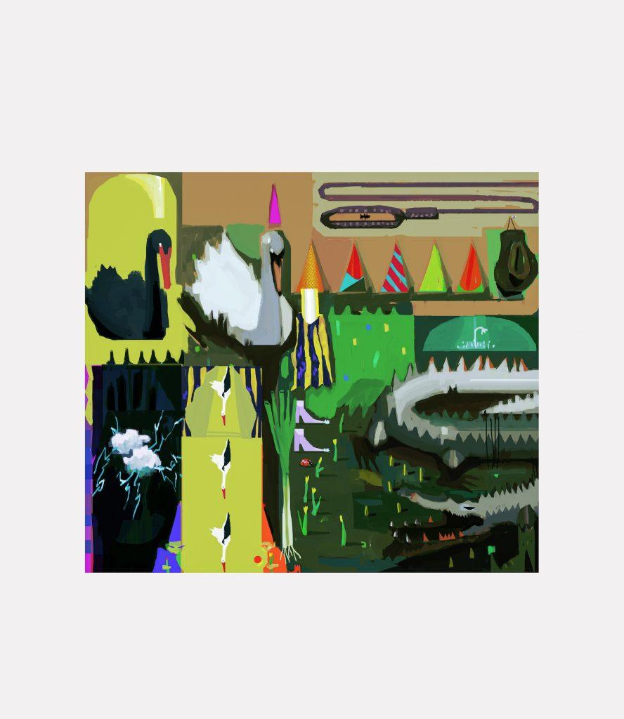 Elias Vangenechten, vierkant schilderij met een voorstelling van onder andere zwanen, ooievaars en feesthoeden